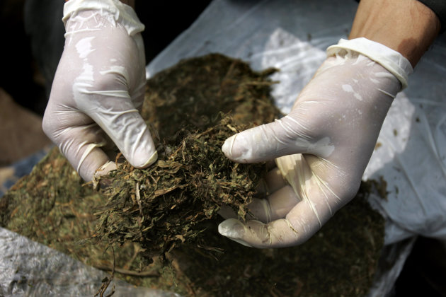 File - In this June 3, 2009 file photo, a police officer unpacks marijuana in Cali, Colombia. The Spanish village of Rasquera, Spain, is voting in a regional referendum to decide if to allow the cultivation of marijuana as a source of revenue to pay off municipal debt, with a population of some 960 people in the northeastern Catalonia region. (AP Photo/Christian Escobar Mora, File)