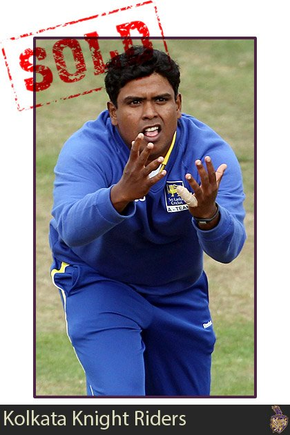 Sachithra Senanayake goes to the Kolkata Knight Riders for $625,000. He had a base price of just $50,000