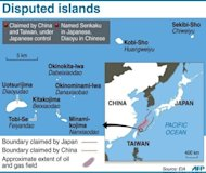 Graphic showing disputed islands claimed by Japan and China -- known as Senkaku by Tokyo and Diaoyu by Beijing. Four Chinese government ships spent several hours in territorial waters around disputed Tokyo-controlled islands, for what Japan's coastguard said was the first time in three weeks