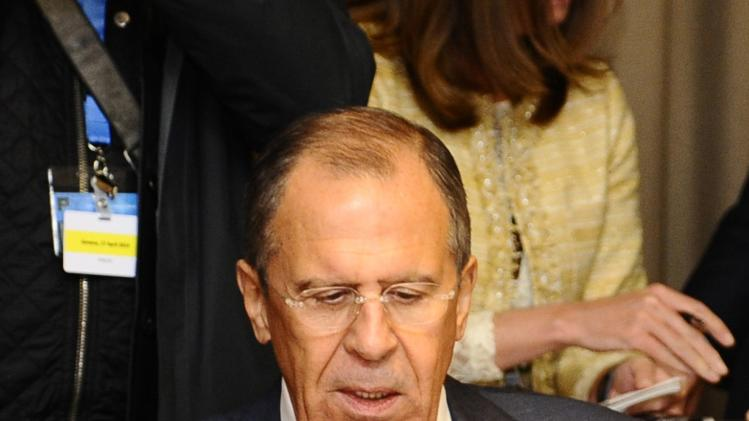 Russia's Foreign Minister Sergei Lavrov attends a meeting in Geneva