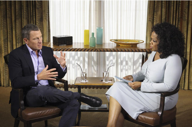 "This Monday, Jan. 14, 2013 photo provided by Harpo Studios Inc., shows talk-show host Oprah Winfrey interviewing cyclist Lance Armstrong during taping for the show ""Oprah and Lance Armstrong: The Worl"