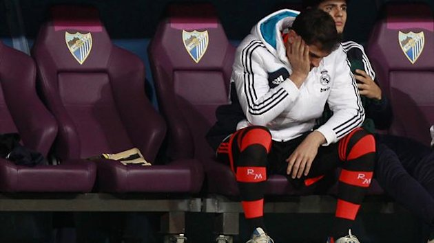Iker Casillas looks glum during Real Madrid's 3-2 defeat at Malaga on December 22