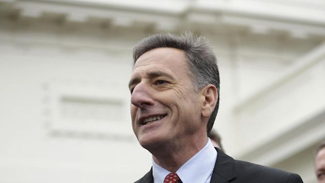 Vermont Gov. Peter Shumlin, accompanied by other members of the Democratic Governors Associations, speaks outside the White House in Washington, Friday, Feb. 22, 2013, following their meeting with President Barack Obama and Vice President Joe Biden. (AP Photo/Pablo Martinez Monsivais)