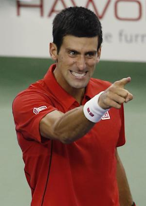 Look! Up in the air, it's Novak Djokovic
