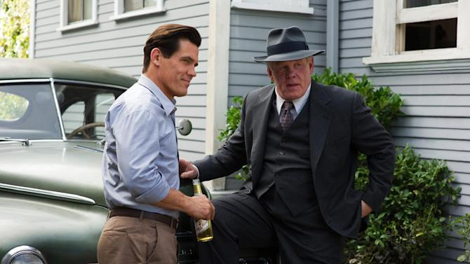 """This undated publicity film image released by Warner Bros. Pictures shows Josh Brolin, left, as Sgt. John O'Mara, and Nick Nolte, as Chief Parker, in Warner Bros. Pictures' and Village Roadshow Pictures' drama """"Gangster Squad,"""" a Warner Bros. Pictures release. To bring the story of mobster Mickey Cohen's reign over post-war Los Angeles to life, the director of """"Gangster Squad"""" employed Sean Penn, Josh Brolin, Ryan Gosling and more than 100 irreplaceable vintage American cars. (AP Photo/Warner Bros. Pictures, Wilson Webb)"""