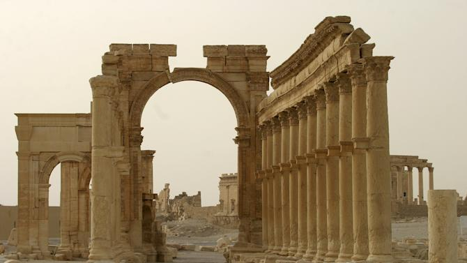 Columns are seen in the historical city of Palmyra, Syria