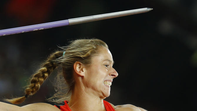 Molitor of Germany competes in women's javelin throw final at 15th IAAF World Championships at the National Stadium in Beijing