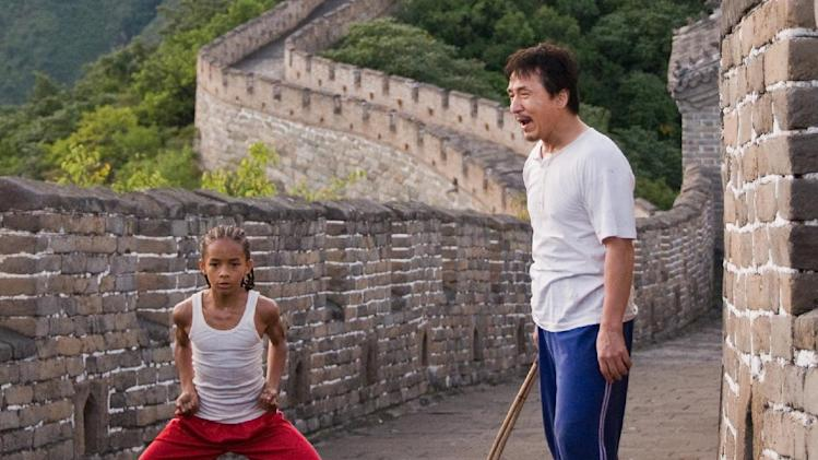 "FILE - In this publicity image released by Columbia Pictures, Jaden Smith as ""Dre"", left, and Jackie Chan as Mr. Han, are shown in ""The Karate Kid."" ""The Amazing Spiderman,"" ""Taxi Driver"" and ""The Karate Kid"" are going big. The new, restored and rebooted films from Sony Pictures are among the content coming pre-loaded on a video player bundled with Sony's first ultra-high-definition television, a massive 84-inch set that retails for $24,999.99 and features nearly four times the resolution of typical high-definition TVs. (AP Photo/Columbia Pictures - Sony, Jasin Boland, File)"