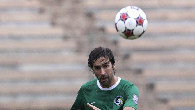New York Cosmos player Raul Gonzalez kicks the ball during a friendly game against Cuba in Havana