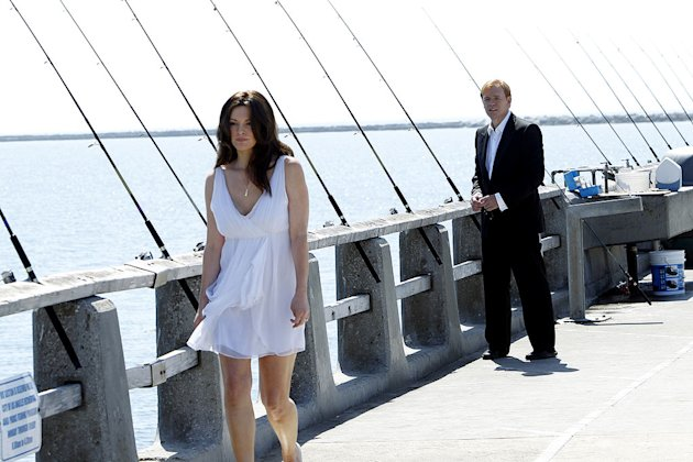 """Countermeasures"" -- Horatio's (David Caruso, right) and Natalia's lives hang in the balance, as Horatio stands between Natalia and certain death. Alana De La Garza (left) returns as Horatio's late wi"