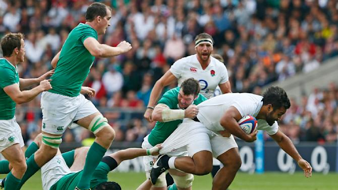Billy Vunipola of England in action against Peter O'Mahony of Ireland