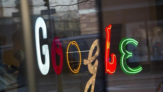Google signage seen at the company's headquarters in New York