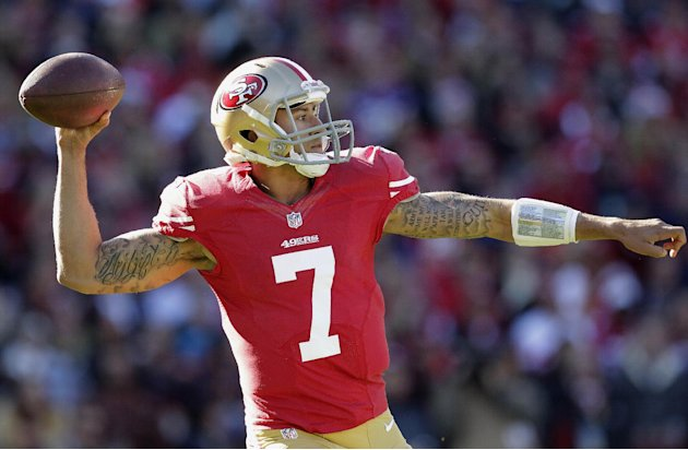 San Francisco 49ers quarterback Colin Kaepernick (7) passes against the Arizona Cardinals during the first quarter of an NFL football game in San Francisco, Sunday, Dec. 30, 2012. (AP Photo/Tony Avela