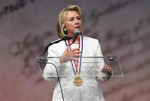 Former U.S. Secretary of State Hillary Clinton speaks at the Liberty Medal ceremony at the National Constitution Center in Philadelphia