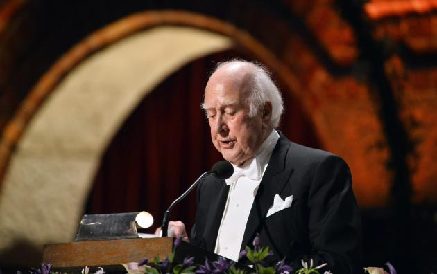 Nobel physics laureate Higgs addresses the traditional Nobel gala banquet at the Stockholm City Hall