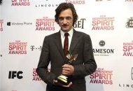 "Actor John Hawkes poses with his award for best male lead for ""The Sessions"" at the 2013 Film Independent Spirit Awards in Santa Monica, California February 23, 2013. REUTERS/David McNew"