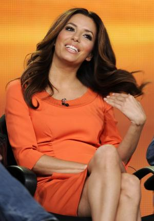 "Eva Longoria, a cast member in the ABC series ""Desperate Housewives,"" takes part in a panel discussion on the show at the Disney ABC Television Critics Association Press Tour, Tuesday, Jan. 10, 2012, in Pasadena, Calif. (AP Photo/Chris Pizzello)"