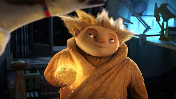 "In this undated publicity photo provided by Paramount Pictures, Sandman eyes his target in DreamWorks Animation's ""Rise of the Guardians."" The film, releasing by Paramount Pictures, centers on a carefree Jack Frost (voiced by Chris Pine) joining an Avengers-style team of mythical figures who work together to protect the world's children with their assortment of powers and gadgets. (AP Photo/Paramount Pictures, Courtesy DreamWorks Animation)"