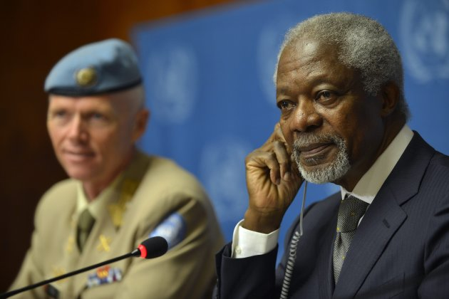 Kofi Annan, right, Joint Special Envoy of the United Nations and the Arab League for Syria, next to Major-General Robert Mood, left, head of the UN Supervision Mission in Syria and Chief Military Observer speaks during a press briefing at the United Nations in Geneva, Switzerland, Friday, June 22, 2012. Annan says he believes Iran should be involved in efforts to end the violence in Syria. He says he is working to convene a so-called `contact group' meeting on Syria in Geneva on June 30. (AP Photo/Keystone, Martial Trezzini)
