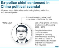 Graphic on former Chongqing police chief Wang Lijun who has been sentenced to 15 years for bribery and corruption after he triggered a political scandal that saw top Chinese politician Bo Xilai sacked and his wife convicted of murder