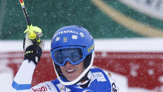 Pietilae-Holmner from Sweden reacts after her second run of the World Cup Women's Slalom race in Kuehtai ski resort