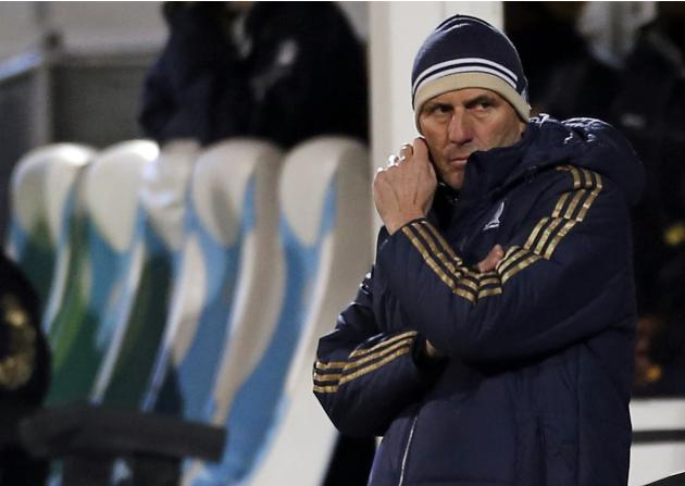 Olympique Marseille's head coach Baup reacts at the end of their French Ligue 1 soccer match against FC Nantes at the Velodrome stadium in Marseille