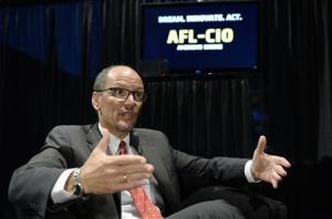 U.S. Secretary of Labor Thomas Perez speaks during an interview after delivering a speech during the AFL-CIO 2013 Convention in Los Angeles