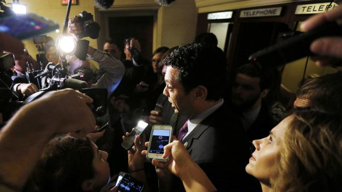 Rep. Chaffetz, a candidate for Speaker of the U.S. House, exits the Republican Caucus meeting on Capitol Hill in Washington