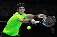 Argentina's Juan Martin Del Potro plays at the ATP World Tour Finals in London on November 11, 2012. Del Potro has been given a wildcard entry for the Monte Carlo Masters later this month, tournament director Zeljko Franulovic has said