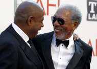 "Honoree Morgan Freeman, right, and Forest Whitaker arrive at the taping of ""TV Land Presents: AFI Life Achievement Award Honoring Morgan Freeman"" in Culver City, Calif., Thursday, June 9, 2011. The special will air June 19th on TV Land. (AP Photo/Matt Sayles)"