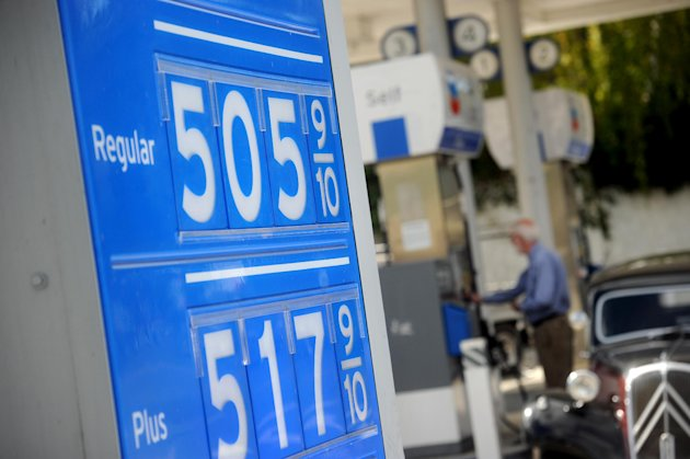 Gasoline prices higher than $5 per gallon are posted at a Menlo Park, Calif., Chevron station on Friday, Oct. 5, 2012. Californians woke up to a shock Friday as overnight gasoline prices jumped by as much as 20 cents a gallon in some areas, ending a week of soaring costs that saw some stations close and others charge record prices. The average price of regular gas across the state was nearly $4.49 a gallon, the highest in the nation, according to AAA&#39;s Daily Fuel Gauge report. (AP Photo/Noah Berger)