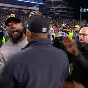 Pittsburgh Steelers head coach Mike Tomlin confronts Cincinnati Bengals safety Reggie Nelson after game