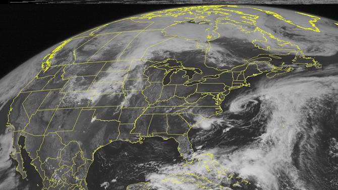 This NOAA satellite image taken Saturday, May 19, 2012, shows tropical storm Alberto 140 miles (225 km) east of Charleston, S.C.  Alberto is the first tropical storm of the season and formed Saturday off the coast of South Carolina with top winds of 45 mph (75 kph). (AP Photo/Weather Underground)