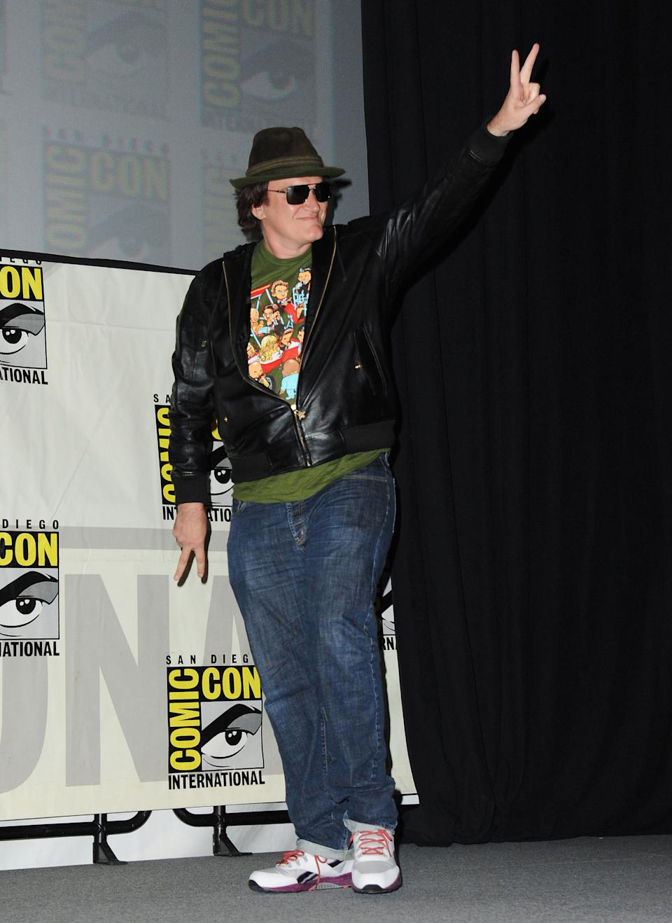 "Quentin Tarantino speaks at the ""Django Unchained"" panel at Comic-Con, Saturday, July 14, 2012, in San Diego. (Photo by Jordan Strauss/Invision/AP)"