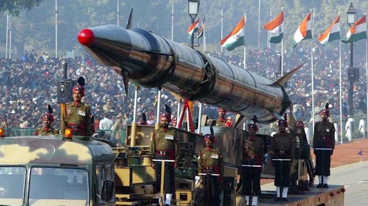 Indian Army personnel display an Agni-II nuclear-capable missile during India's Republic Day parade in New Delhi, in January 2006