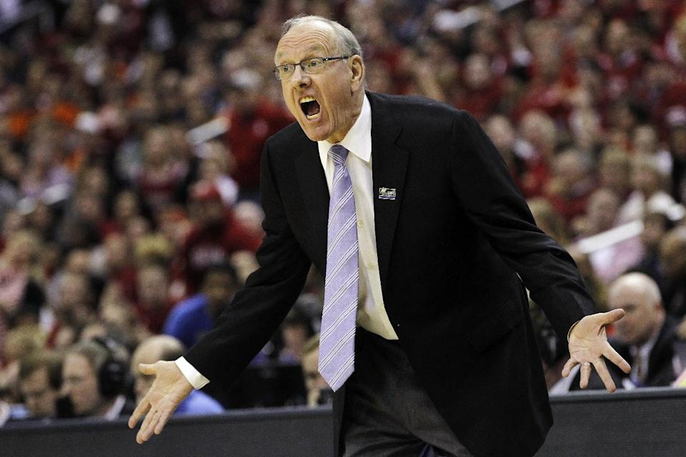 Syracuse head coach Jim Boeheim reacts during the first half of an East Regional semifinal in the NCAA college basketball tournament against Indiana, Thursday, March 28, 2013, in Washington. (AP Photo/Pablo Martinez Monsivais)