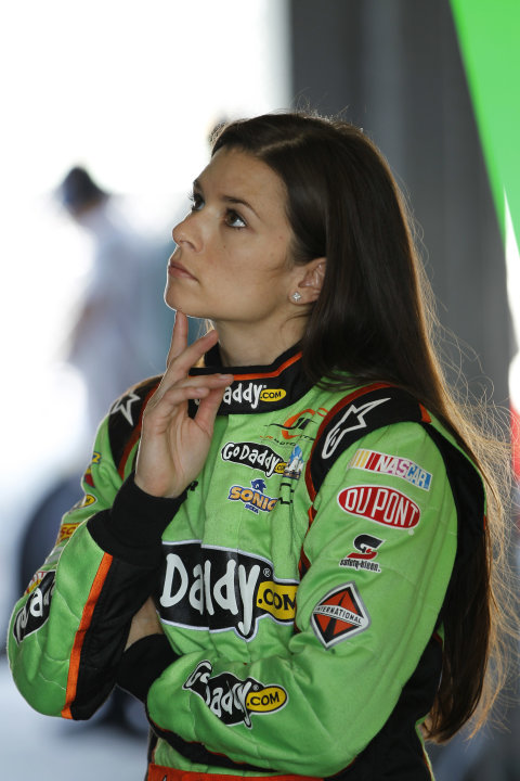 Driver Danica Patrick stares at a computer monitor as her team prepares for Saturday's NASCAR Nationwide auto race, Friday, Nov. 16, 2012 at the Miami-Homestead Speedway in Homestead, Fla. (AP Photo/T