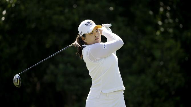 Inbee Park, of South Korea, watches her tee shot on the 18th hole during the final round of the LPGA North Texas Shootout golf tournament, Sunday, May 3, 2015, in Irving, Texas. Park won the tournament. (AP Photo/LM Otero)