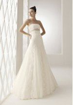 Princess Strapless Floor Length Attached Lace/ Tulle Plumeti Beading Wedding Dress Style 112