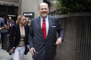 New York City Republican mayoral candidate Joe Lhota exits the polling center after voting in the Republican primary election in the Brooklyn borough of New York