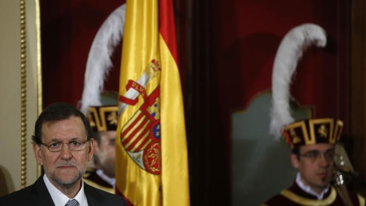 Spain's Prime Minister Mariano Rajoy attends celebrations for the 35th anniversary of the Spanish Constitution in the Spanish Parliament in Madrid