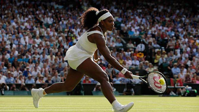 Serena Williams of the US returns against Britain's Heather Watson during their women's singles 3rd round match of the Wimbledon Championships, at the All England Tennis Club in southwest London, on July 3, 2015