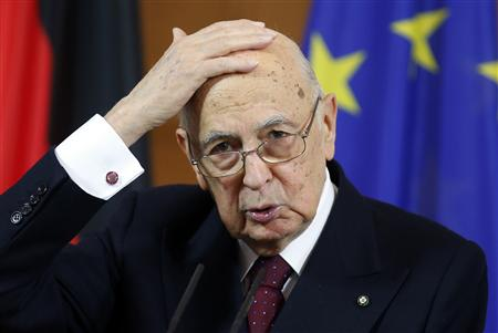 Italy's President Giorgio Napolitano gestures during a news conference following talks with German counterpart Joachim Gauck in Berlin