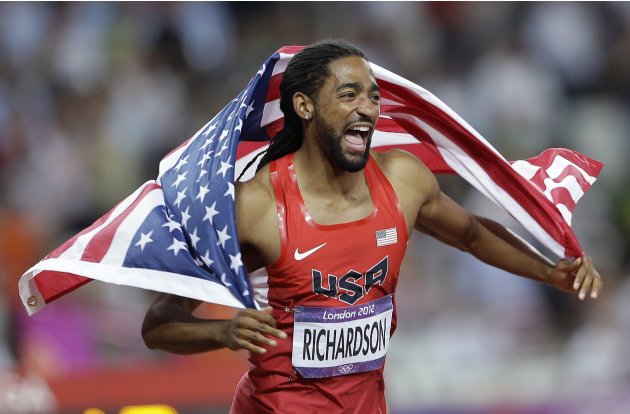 United States&amp;#39; Jason Richardson celebrates winning silver in the men&amp;#39;s 110-meter hurdles final during the athletics in the Olympic Stadium at the 2012 Summer Olympics, London, Wednesday, Aug. 