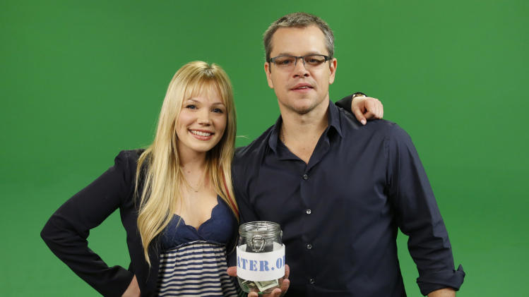 IMAGE DISTRIBUTED FOR WATER.ORG - (L to R) YouTube star Lisa Schwartz interviews Water.org's Matt Damon after he announces a toilet strike in protest of the 2.5 billion people who lack access to safe water and sanitation, and asks for help at http://strikewithme.org as of Tuesday, Feb. 12, 2013 in Los Angeles. (Photo by Todd Williamson/Invision for Water.org/AP Images)