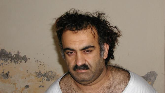 FILE- In this March 1, 2003, file photo, obtained by the Associated Press, Khalid Sheikh Mohammed, the alleged Sept. 11 mastermind, is seen shortly after his capture during a raid in Pakistan. A U.S. military judge is considering broad security rules for the war crimes tribunal of five Guantanamo prisoners, among them Khalid Sheikh Mohammed, charged in the Sept. 11 attacks, including measures to prevent the accused from publicly revealing what happened to them in the CIA's secret network of overseas prisons. The hearing will start Monday, Oct. 15, 2012. (AP Photo, file)