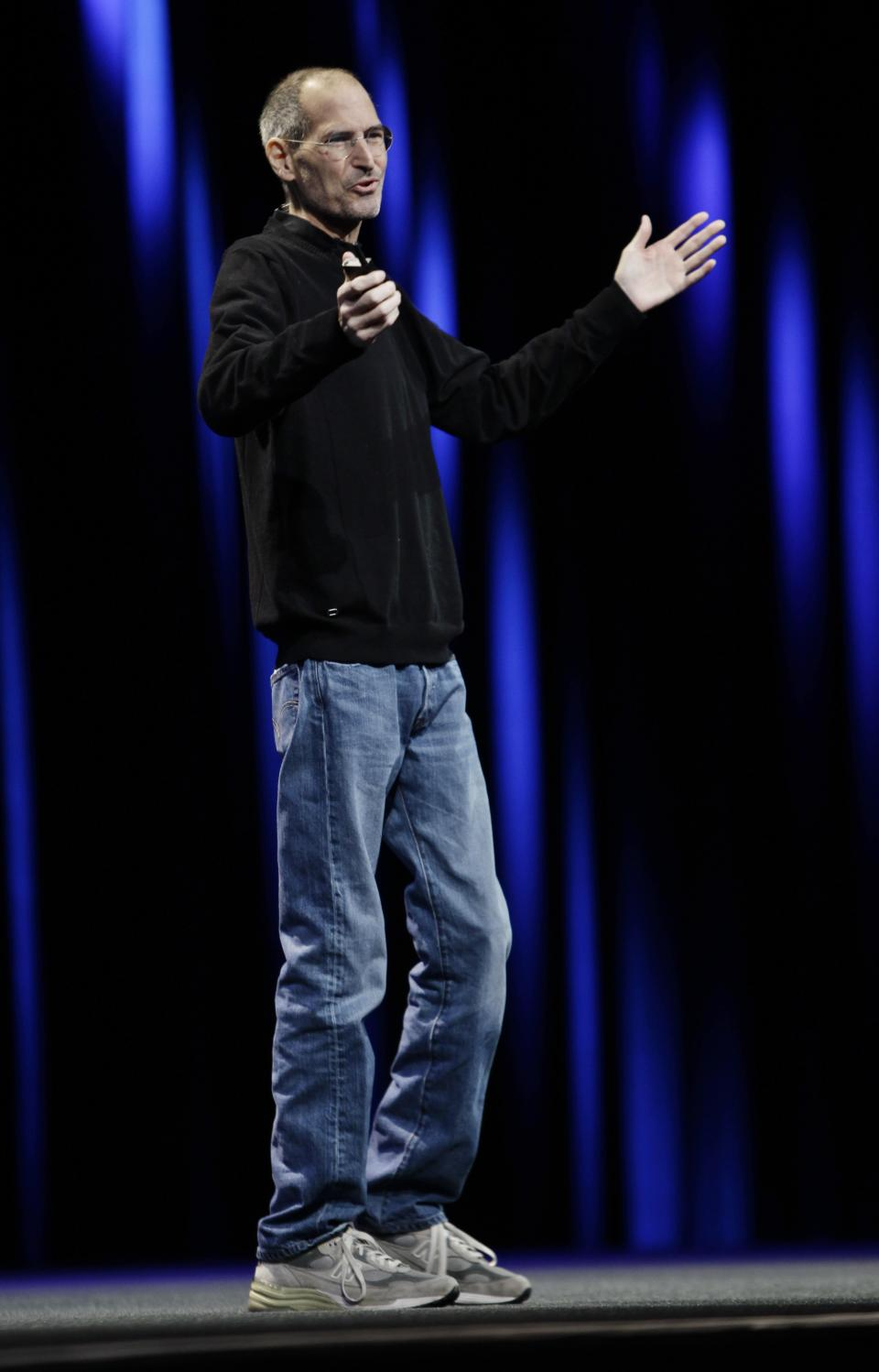 Apple CEO Steve Jobs gestures during a keynote address to the Apple Worldwide Developers Conference in San Francisco, Monday, June 6, 2011. (AP Photo/Paul Sakuma)