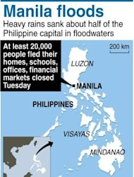 <p>Map of the Philippines locating Manila, where torrential rains forced at least 20,000 people to flee their homes as floodwaters covered half the capital.</p>