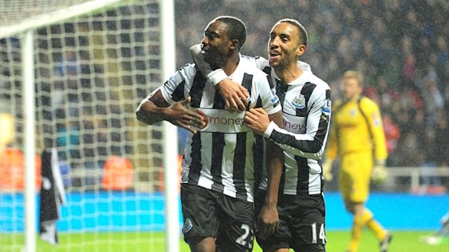Shola Ameobi, left, scored the only goal as Newcastle beat QPR