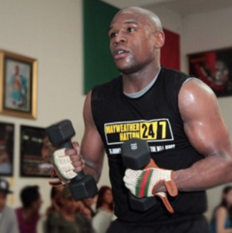 Floyd Mayweather, Jr. training for his May 5th fight with Miguel Cotto.
